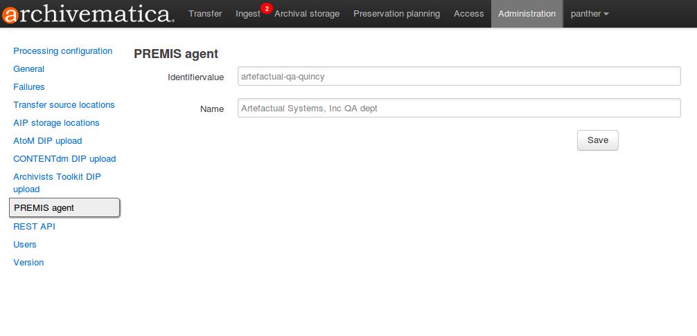 Dashboard administration tab   Documentation (Archivematica 1.4
